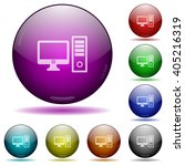 set of color desktop computer...