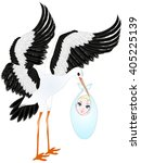 stork with baby. | Shutterstock .eps vector #405225139