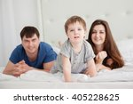 little boy and parents on... | Shutterstock . vector #405228625
