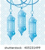 blue arabic hanging lanterns.... | Shutterstock .eps vector #405231499
