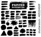 Painted grunge strips set. Textured labels, long banners. Burst background, paint distress texture. Brush strokes vector. Triangle, square and round shape. Torn design elements. Black stripes and star