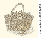 engraving wicker basket with... | Shutterstock .eps vector #405246154