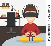 boy with game controller... | Shutterstock .eps vector #405248491
