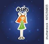 cartoon aries girl on starry...   Shutterstock .eps vector #405250855