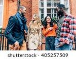 group of friends talking... | Shutterstock . vector #405257509