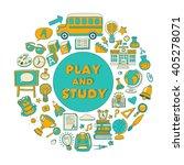 back to school doodle set.... | Shutterstock .eps vector #405278071