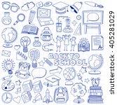 back to school doodle set.... | Shutterstock .eps vector #405281029
