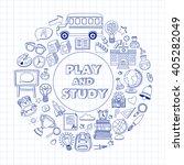 back to school doodle set.... | Shutterstock .eps vector #405282049
