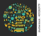 back to school doodle set.... | Shutterstock .eps vector #405282979