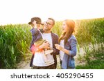young hipster father in glasses ... | Shutterstock . vector #405290455