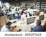 library academic computer... | Shutterstock . vector #405297625