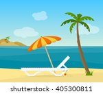 lounge on the beach under a... | Shutterstock .eps vector #405300811