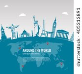 Travel background with famous World Landmarks icons. Vector Illustration | Shutterstock vector #405313891