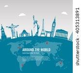 Travel background with famous World Landmarks icons. Vector Illustration