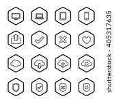 black line web icon set with... | Shutterstock .eps vector #405317635