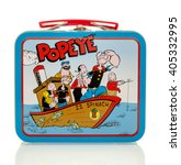 Small photo of Winneconne, WI - 13 April 2016: Lunch box featuring Popeye on an isolated background.