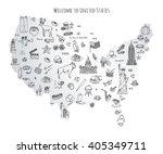 hand drawn doodle usa set... | Shutterstock .eps vector #405349711