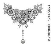 ethnic floral zentangle  doodle ...
