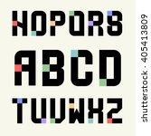 set 2 templates capital letters ... | Shutterstock .eps vector #405413809