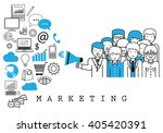 marketing team on white... | Shutterstock .eps vector #405420391