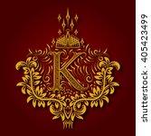 Letter K Heraldic Monogram In...