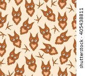 background cartoon owl and paw... | Shutterstock .eps vector #405438811