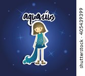 cartoon aquarius girl on starry ... | Shutterstock .eps vector #405439399