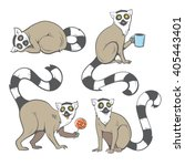 Cute Cartoon Ring Tailed Lemur...