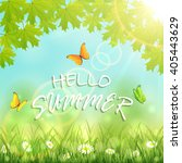 inscription hello summer with... | Shutterstock . vector #405443629