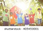 children flying kite playful... | Shutterstock . vector #405453001