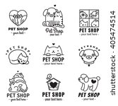 pet shop cute logos black... | Shutterstock .eps vector #405474514