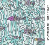 underwater seamless fish pattern | Shutterstock .eps vector #405474694