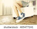 summer sun and woman legs and...   Shutterstock . vector #405477241