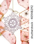 Christmas decoration with snowflake and ribbons / on white bacground - stock photo