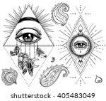 sacred geometry symbol with all ... | Shutterstock .eps vector #405483049