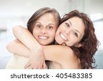 beautiful young girl couple hug ... | Shutterstock . vector #405483385