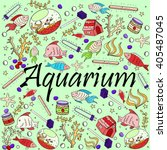 aquarium line art design raster ... | Shutterstock . vector #405487045