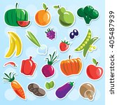 fruits and vegetables set... | Shutterstock .eps vector #405487939