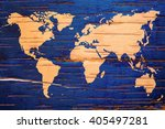 World Map On Birch Cork Natura...