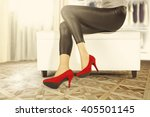 window in room and brown floor... | Shutterstock . vector #405501145