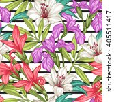 seamless exotic pattern with... | Shutterstock .eps vector #405511417