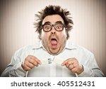 funny man get elettric shock in ... | Shutterstock . vector #405512431