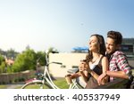 white bike and a satisfied... | Shutterstock . vector #405537949