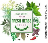 fresh herbs store emblem   easy ... | Shutterstock .eps vector #405547621