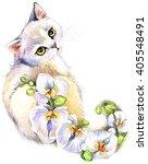 Stock photo cat flower watercolor illustration 405548491