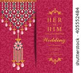 wedding invitation or card with ... | Shutterstock .eps vector #405552484