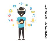 man with virtual reality... | Shutterstock .eps vector #405558199