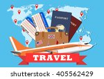 travel and tourism concept. air ... | Shutterstock .eps vector #405562429