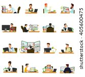 people working in the office... | Shutterstock .eps vector #405600475