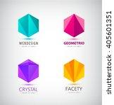 vector set of crystal 3d logos  ... | Shutterstock .eps vector #405601351